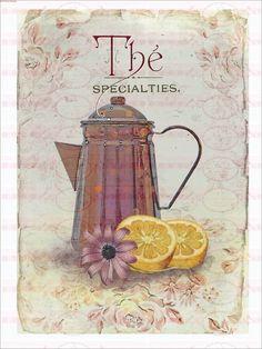 Bügelbild Tee Shabby Chic Vintage 1550