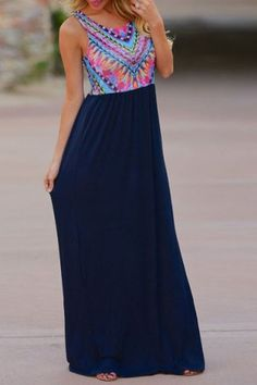 Ethnic Style Scoop Neck Geometric Printed Maxi Dress For Women