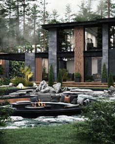 Architecture Design, Casa Loft, Modern Villa Design, Dark House, Modern Architects, Dream House Exterior, Dream Home Design, Mansions Homes, Mega Mansions