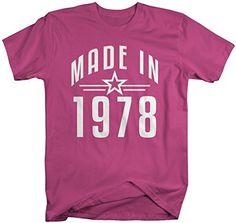 Shirts By Sarah Men's Made In 1978 Birthday T-Shirt Retro Star Custom Shirts