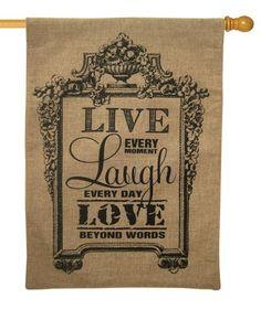 Burlap Live Laugh Love Decorative House Flag