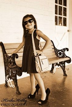"""Little girl photography ideas. Love the """"big girl heels"""" ... needs a string of pearls"""