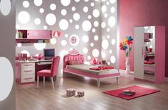 Tasty Pink Princess Girl Room Feats Awesome Round Dots Wall And Chic Wall Clock With Soft Pink Study Desk And Shelf Also Pink Bed With Pink White Wardrobe On Laminated Wooden Floor And Cute Pink Rud Design Ideas 1600×1051 Cool rooms for girls