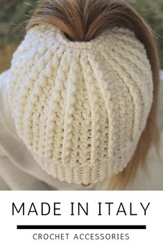 Put it on your Christmas list! Handmade in Italy using merino wool from Italian sheep. I love this messy bun hat and it's texture!