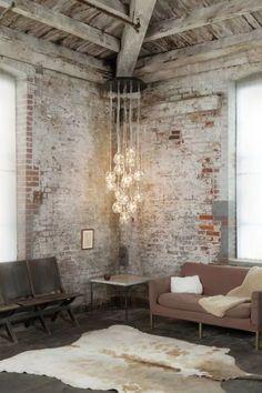 味わい深いレンガの壁があるインテリア☆ | folk Exposed Brick Walls, Industrial Living, Interior Design Tips, Living Spaces, Ideas, Furniture, Style, Home Decor, Swag