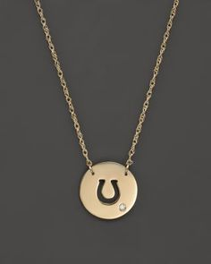 """Jane Basch 14K Yellow Gold Cut Out Horseshoe Disc Pendant Necklace, 16"""" 
