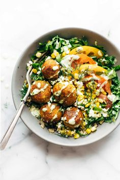 Summer Bliss Bowls with Sweet Potato Falafel and Jalapeño Ranch - you will not…