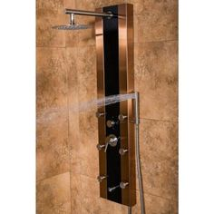 PULSE Showerspas Rio 6-Jet Shower System with Black Glass in Bronze Stainless Steel-1049B-BN - The Home Depot