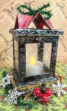 FRIENDS in ART: Embossed Metal Luminary with Crackled Glass!