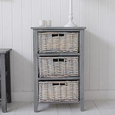 grey wooden 3 drawer wooden st ives furniture - Bathroom Cabinets 30cm Wide