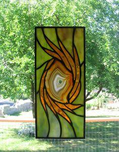 'Hurricane' Stained Glass Suncatcher with Geode center by Jannie Ledard Glass Art