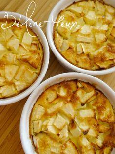 Tout est dans le titre ou presque... Je vous propose une idée de dessert facile, rapide, léger et économique pour 3 . (Pas le choix quand il ne vous reste qu'une pomme et un oeuf à la maison.) Pour 3 petits clafoutis 1 pomme 1 sachet de sucre vanillée...