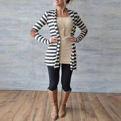 Women Knitted Striped Cardigan