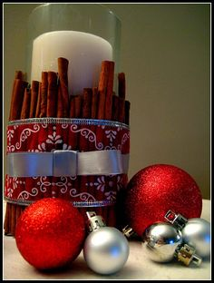 Cinnamon Stick Candle Holder - This is going to be part of the centerpiece i'm making for my parents for thanksgiving!