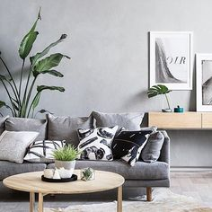 • GREEN AND GREY GOODNESS • VIA: @artclub_concept • What a fabulously combined colour palette. The green works so well with neutral grey tones, and makes for a lively, comfortable space. Adoring all the greenery and those bold print pillows.