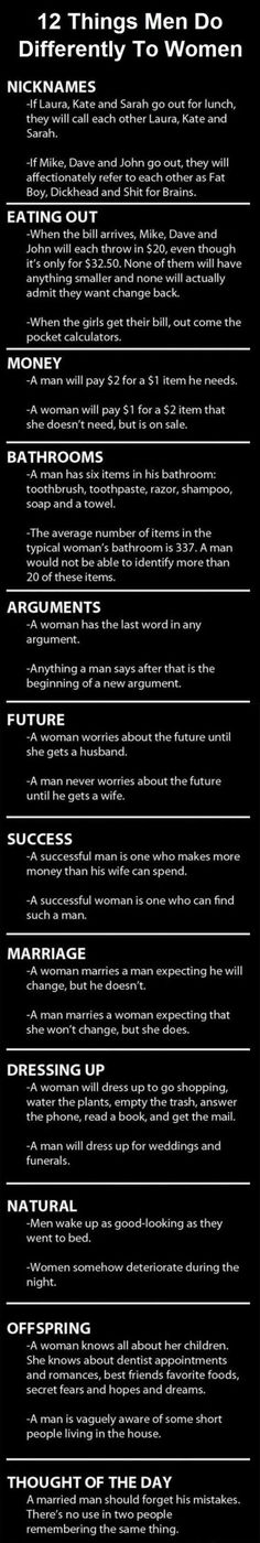 Some Things Men Do Differently To Women