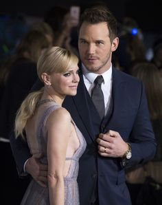 Anna Faris and Chris Pratt attend the premiere of 'Passengers', in Westwood, California, on December 14, 2016.