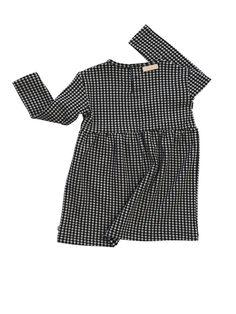 Tinycottons - vestido Easy Houndstooth - beige-negro