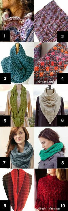Cowls & one Poncho to knit or crochet