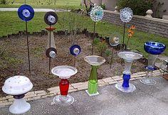 glass garden art | ALSO AVAILABLE CUSTOM HAND MADE GLASS BIRD BATH'S, PLANT STANDS. FOR ...