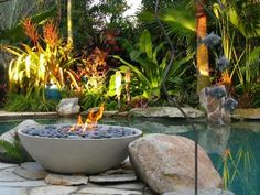 Simple and Ridiculous Tricks Can Change Your Life: Fire Pit Seating Pergola small fire pit backyard designs. Tropical Fire Pits, Tropical Backyard, Modern Backyard, Tropical Plants, Porches, Garden Fire Pit, Fire Pit Backyard, Outdoor Fire, Outdoor Living