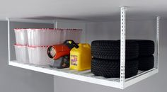 Garage Overhead Storage Rack with load capacity of 800lb provides great storage for seasonal and bulky items in the garage.