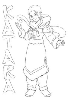 Avatar The Last Airbender Katara Uses Water Control Coloring Pages For Kids Printable