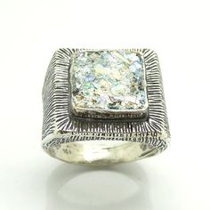Silver Ring Roman Glass Square Stone Hadas1951