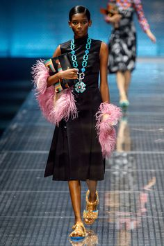 Prada Spring 2017 RTW | The BLING! I love me some bling and the turquoise is super beautiful. And the BOA is PINK!! Love it all. Fun color combination that jumps off the black dress.