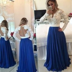 Charming Prom Dress,Long Sleeve Evening Dress,See Though Chiffon Evening Gown,Appliques Formal Dress