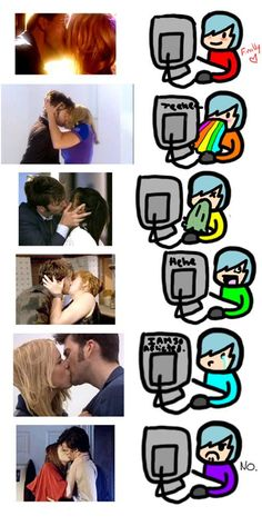 """THIS IS ONE OF THE MOST ACCURATE THINGS EVER. Doctor Who Hahah i actually almost threw up when Martha was kissed! I was like """"NO. Only Rose."""""""