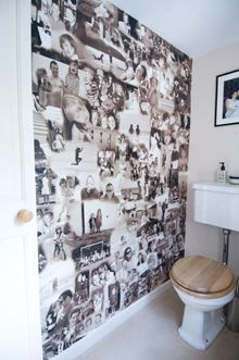 Personalised photographic wallpaper collage makes for a great way to show all your precious memories and looks great! Make Your Own Wallpaper, Diy Wallpaper, Photo Wallpaper, Quote Collage, Photo Wall Collage, Collage Ideas, Man Cave Bathroom, Downstairs Bathroom, Photowall Ideas