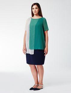 Marina Rinaldi DANZARE dark green: Dress with georgette panels.