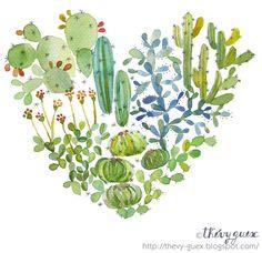 Illustration Affiche Poster Aquarelle Amour Coeur Cactus Vert Fleur Feuillage Coloré Multicolore Saint Valentin : Affiches, illustrations, posters par thevy-guex
