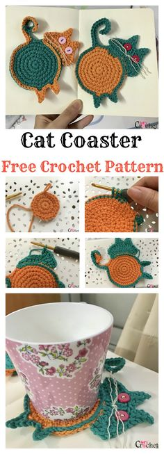 This super fun Peeking Cat Butt Coaster Free Crochet Pattern is a quick and easy little project to use up some of the scrap yarn you have laying around. Crochet Coaster Pattern, Crochet Cat Pattern, Crochet Patterns, Free Pattern, Pattern Ideas, Easy Patterns, Crochet Owls, Afghan Patterns, Crochet Animals