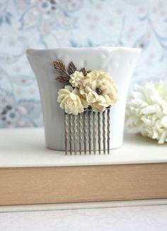 Wedding Hair Comb. Ivory Fabric Rose Flower Brass Leaf by Marolsha, $20.50
