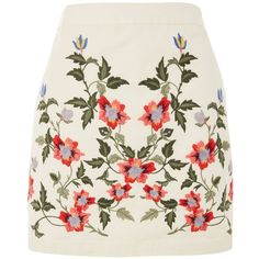 Topshop Petite Ivy Embroidered Skirt (£36) ❤ liked on Polyvore featuring skirts, mini skirts, cream, short skirts, short mini skirts, flower print skirt, cream mini skirt and short cotton skirts