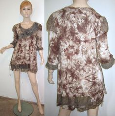 PRETTY ANGEL Silk Rayon Tie Dye Motif Floral Applique Layered Lace Tunic Top M