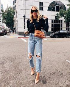 Black puff sleeve sweatshirt (tts - small), ripped mom jeans (size down), Chanel handbag, nude heels (tts) fall, fashion Jackson Source by fashion_jackson fashion for moms