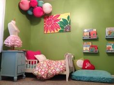 Adorable Toddler's Room -. Want those bookshelves for her reading nook (spice racks)