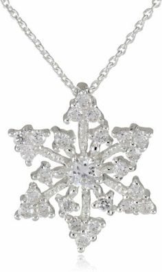 9b724cfbd Silver Plated Cubic Zirconia Snowflake Pendant Necklace, 18