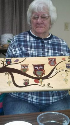 owl coat rack i made for my aunt for Christmas 2013