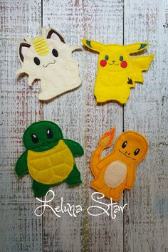 """This set of Pokemon inspired finger puppets is ready to keep your child entertained for hours! These soft toys would be great for a road trip! Each puppet measures approximately 3.5"""" tall and is big e"""