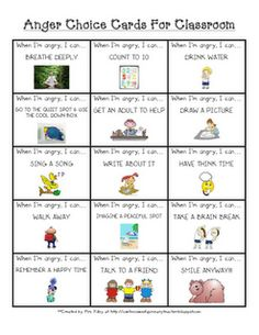 anger choice cards for the classroom - what to do when you're mad - anger management for kids