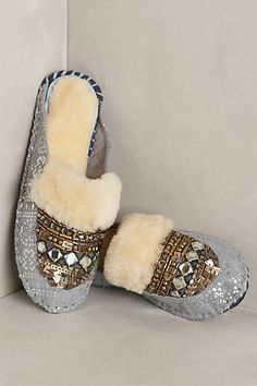 LOVE these slippers, they match the theme of my living and bedrooms --- Lilka Beaded Moccasin Slides Fashion Shoes, Fashion Accessories, Beaded Moccasins, Bedroom Slippers, Fuzzy Slippers, Glass Slipper, Plastic Beads, All Gifts, Clothes For Sale