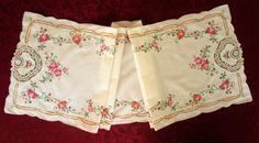 Beautiful Table Runner Vintage Ecru Linen by VintageLinenGallery