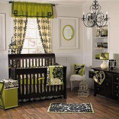 chambre de bébé unisex en couleur vert et marron