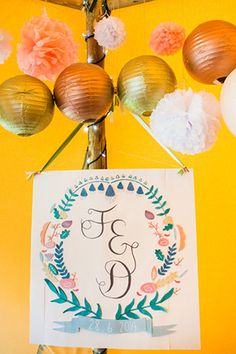 Illustrated wedding signage | www.onefabday.com
