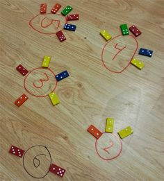 Decomposing numbers with dominoes - start with a number in a circle and have students place the dominoes that add up to that number