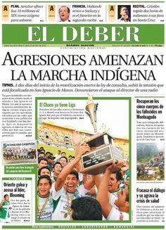 "La TAPA de ""El deber"" de Bolivia sobre la marcha indígena de protesta contra el proyecto TIPNIS que se inicia mañana, martes 24 de abril"